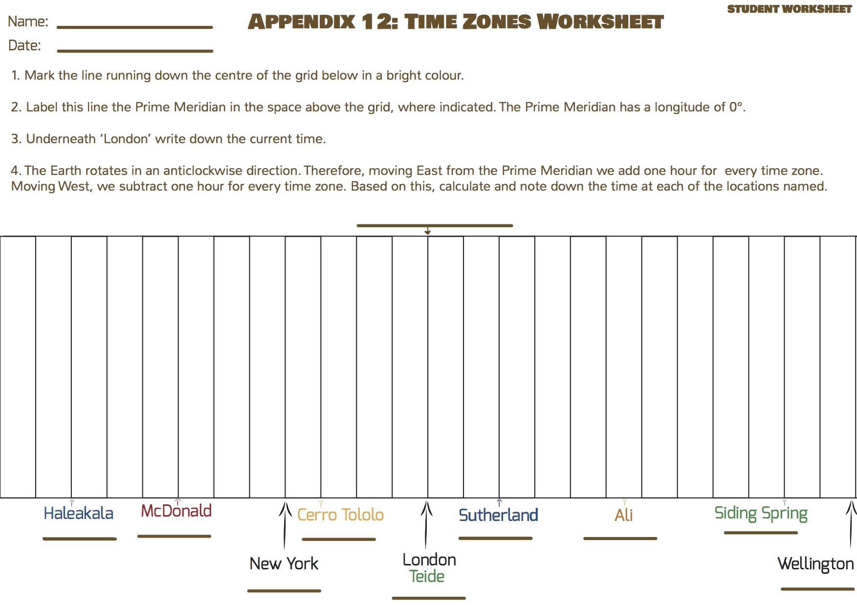 Discover Time Zones Universe in the Classroom – Time Zone Worksheet